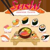 Ilustração do formato do menu EPS10 do sushi para o fundo ou o P Imagem de Stock Royalty Free