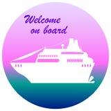 Ilustração do forro do cruzeiro com lugar do texto, boa vinda a bordo Imagens de Stock Royalty Free