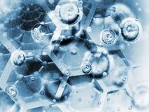 Ilustração do fundo da ciência, estruturas químicas Foto de Stock Royalty Free