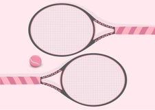 Ilustração do fundo da raquete de tênis do rosa pastel e da bola de tênis Imagens de Stock