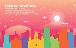 Ilustração do fundo da skyline da arquitetura da cidade de Kingston Upon Hull City Building ilustração stock