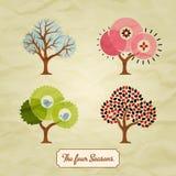 Ilustração do fundo de quatro árvores das estações Imagens de Stock