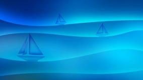 Ilustração do fundo do mar com sailboats Imagens de Stock Royalty Free