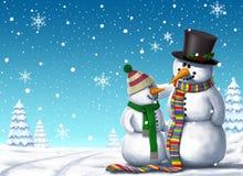Ilustração do fundo dos amigos dos bonecos de neve Imagem de Stock