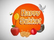 Ilustração do fundo judaico de Sukkot do feriado ilustração royalty free