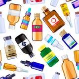 Ilustração do fundo do teste padrão das garrafas da medicina da farmácia do vetor ilustração do vetor
