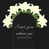 Ilustração do funeral Uma placa memorável com flores e uma inscrição Imagem de Stock Royalty Free