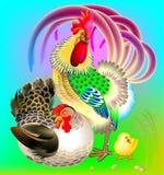 Ilustração do galo, da galinha e da galinha pequena ilustração do vetor