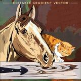 Ilustração do gatinho e do cavalo Fotos de Stock Royalty Free