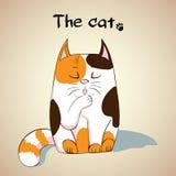 Ilustração do gato bonito que lambe sua pata Fotos de Stock