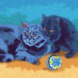 Ilustração do gato e do gatinho Imagens de Stock