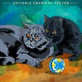 Ilustração do gato e do gatinho Fotos de Stock