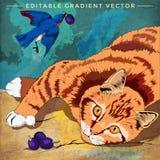 Ilustração do gato e do pássaro Fotos de Stock