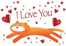 Ilustração do gato eu te amo Foto de Stock Royalty Free