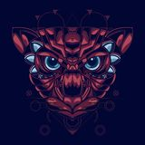A ilustração do gatos dirige com combinação de cor vermelha e azul e um estilo decorativo atrativo e original ilustração do vetor