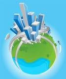 Ilustração do globo da cidade Fotos de Stock