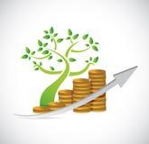 ilustração do gráfico de negócio da moeda da árvore Foto de Stock Royalty Free