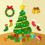 Ilustração do gráfico de vetor do canto da decoração do Natal Fotografia de Stock