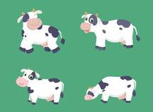 Ilustração do grupo bonito dos desenhos animados da vaca Imagens de Stock Royalty Free