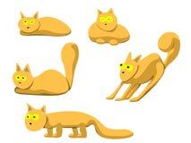 Ilustração do grupo de gatos vermelhos em poses diferentes Fotos de Stock
