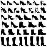 Ilustração do grupo do ícone das sapatas e das botas das mulheres Imagem de Stock Royalty Free