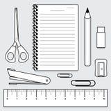 Ilustração do grupo dos artigos de papelaria, materiais de escritório Fotografia de Stock Royalty Free