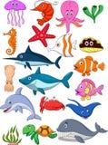 Grupo dos desenhos animados da vida marinha Fotografia de Stock Royalty Free
