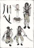 Ilustração do guerreiro do samurai Foto de Stock