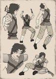 Ilustração do guerreiro do samurai Fotos de Stock Royalty Free