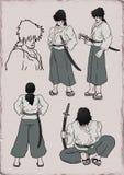 Ilustração do guerreiro do samurai Fotos de Stock