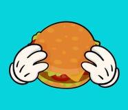 Ilustração do hamburguer delicioso com guardar as mãos Imagem de Stock