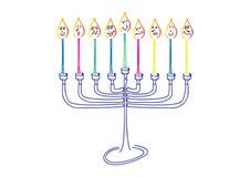 Ilustração do Hanukkah do vetor, menora e velas tirados mão ilustração stock