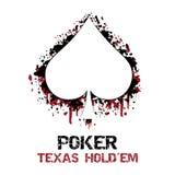 Ilustração do holdem de texas do pôquer com efeito do grunge Imagens de Stock Royalty Free