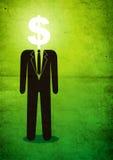 Ilustração do homem com um sinal de dólar Imagens de Stock Royalty Free