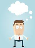 Homem dos desenhos animados com nuvem do pensamento Imagem de Stock