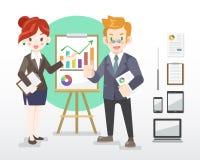 Ilustração do homem de negócios e da mulher com dispositivos ilustração royalty free