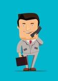 Ilustração do homem de negócios que fala em uma ilustração do negócio do telefone fotos de stock royalty free