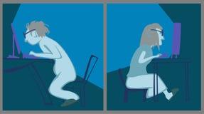 Ilustração do homem e da mulher que chathing Fotografia de Stock Royalty Free