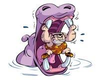 Ilustração do homem e do hipopótamo Fotografia de Stock Royalty Free