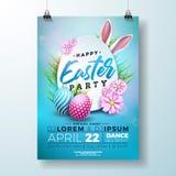 Ilustração do inseto do partido da Páscoa do vetor com ovos, as orelhas de coelho e a flor pintados no fundo azul da natureza Mol ilustração do vetor