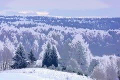 Ilustração do inverno artwork Vista do hillfort fotos de stock royalty free