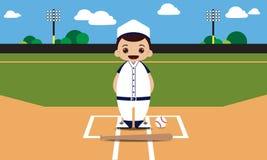 Ilustração do jogador de beisebol do campo de basebol Fotos de Stock Royalty Free