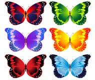 Ilustração do jogo de borboletas coloridas Fotografia de Stock
