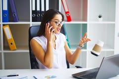Ilustração do JPG + do vetor Retrato da mulher no escritório Foto de Stock