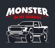 Ilustração do logotipo da garagem do monster truck Imagens de Stock Royalty Free