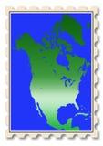 Ilustração do mapa de America do Norte no selo Foto de Stock Royalty Free