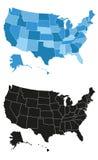 Ilustração do mapa de Estados Unidos da América Imagens de Stock Royalty Free