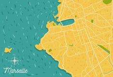 Ilustração do mapa de estradas da cidade de Marselha ilustração royalty free