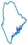 Ilustração do mapa de Maine Fotos de Stock Royalty Free