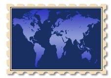 Ilustração do mapa de mundo no selo Imagem de Stock Royalty Free
